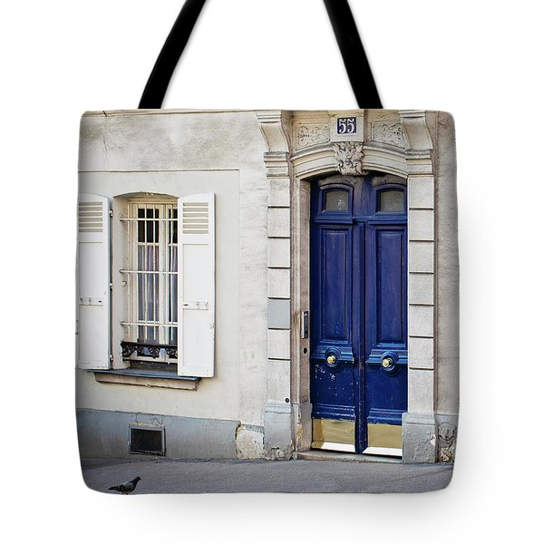 Tote Bag featuring the photograph Blue Door - Paris, France by Melanie Alexandra Price