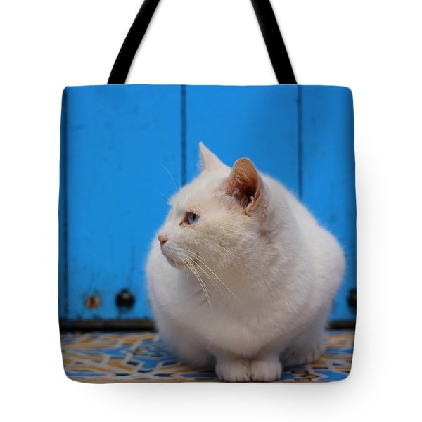 Tote Bag featuring the photograph Blue Door White Cat by Ramona Johnston
