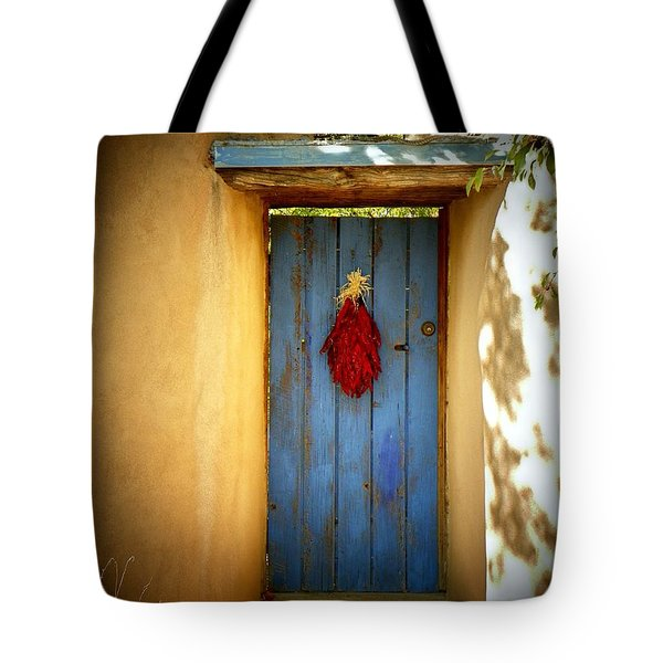 Blue Door With Chiles Tote Bag by Joseph Frank Baraba