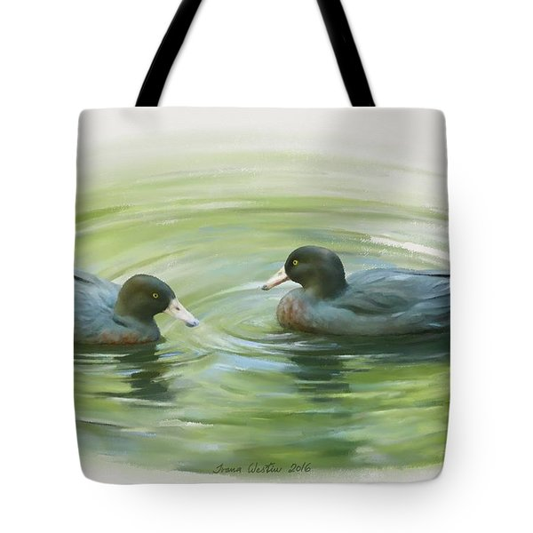 Tote Bag featuring the painting Blue Ducks  by Ivana Westin