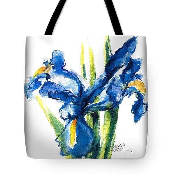 Blue Dutch Iris Flower Painting Tote Bag