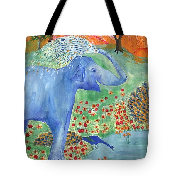 Blue Elephant Squirting Water Tote Bag by Sushila Burgess