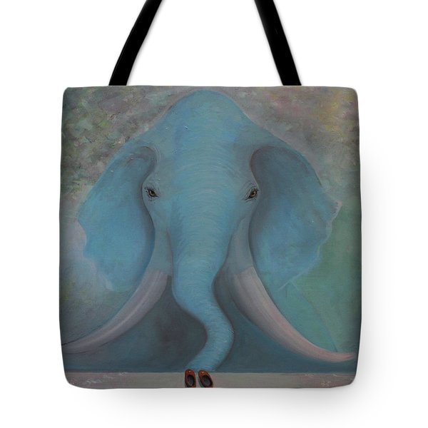 Blue Elephant Tote Bag by Tone Aanderaa