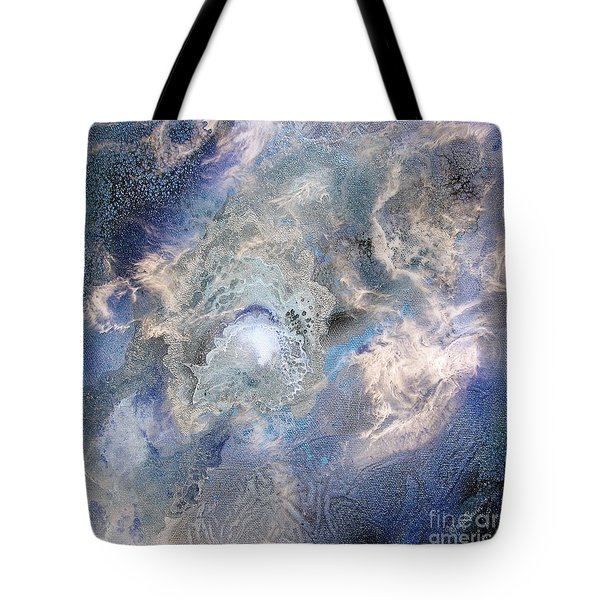 Blue Energy Cosmic Flower Tote Bag