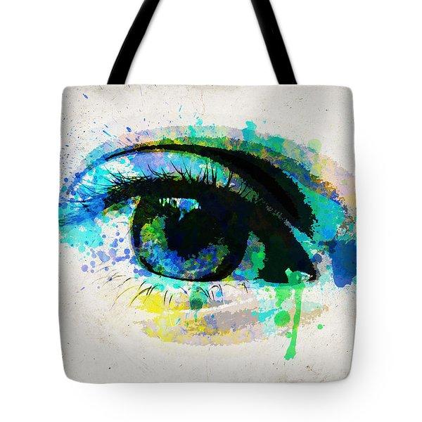 Blue Eye Watercolor Tote Bag
