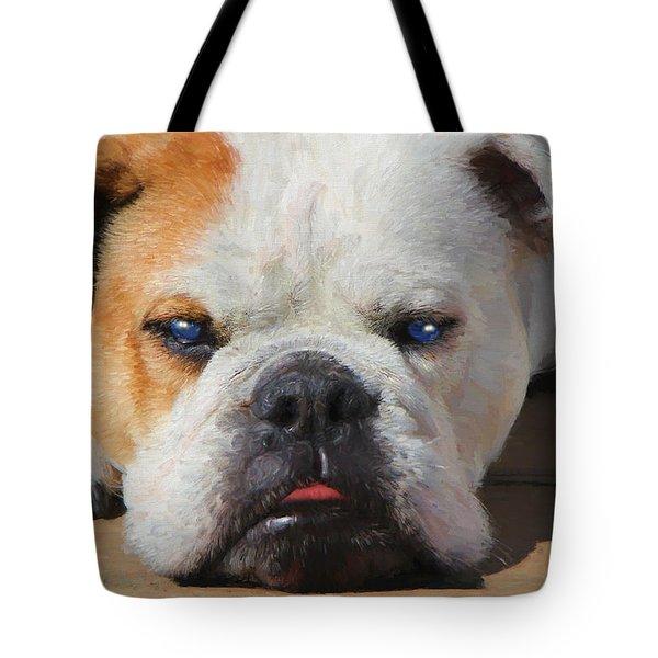 Blue-eyed English Bulldog - Painting Tote Bag