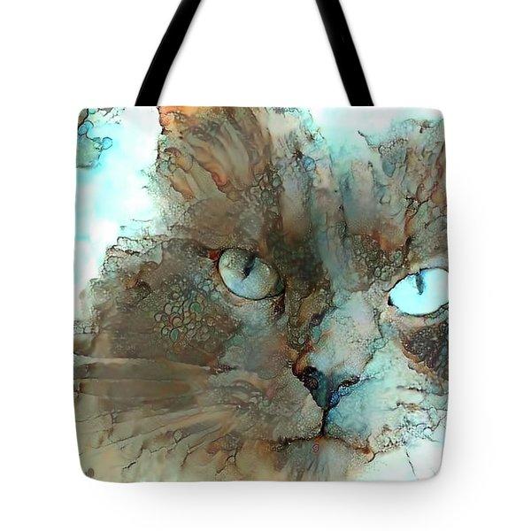 Blue Eyed Persian Cat Watercolor Tote Bag