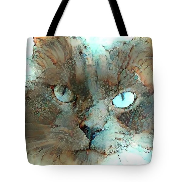 Blue Eyed Persian Cat Watercolor Tote Bag