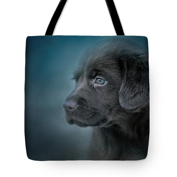 Blue Eyed Puppy Tote Bag