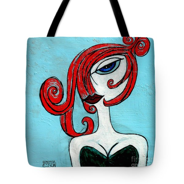 Blue Eyed Redhead In Green Dress Tote Bag