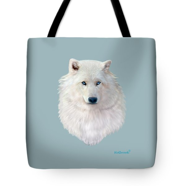 Blue-eyed Snow Wolf Tote Bag