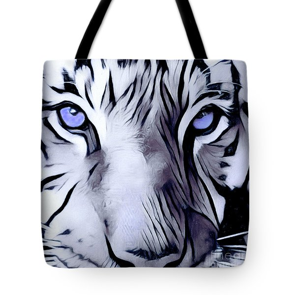 Blue Eyed Tiger Tote Bag
