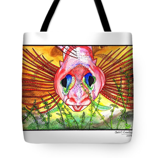 Blue-eyed Triple Fin Tote Bag by Chris Crowley