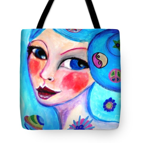 Blue Eyed Woman Tote Bag