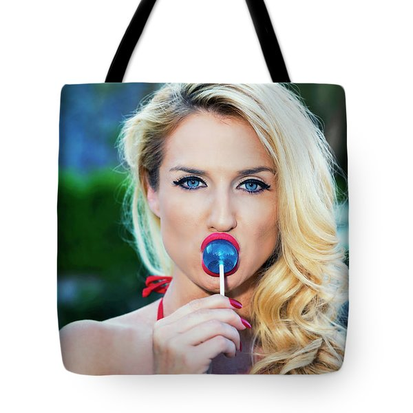 Red Lips Blue Eyes Blue Sucker Tote Bag