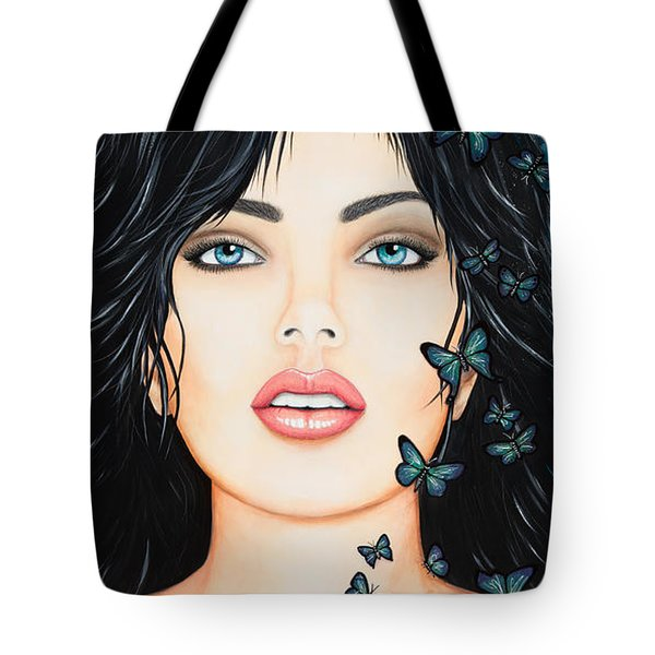 Tote Bag featuring the painting Blue Eyes And Butterflies by Dede Koll