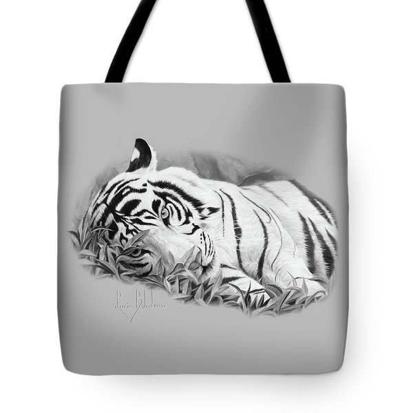 Blue Eyes - Black And White Tote Bag by Lucie Bilodeau