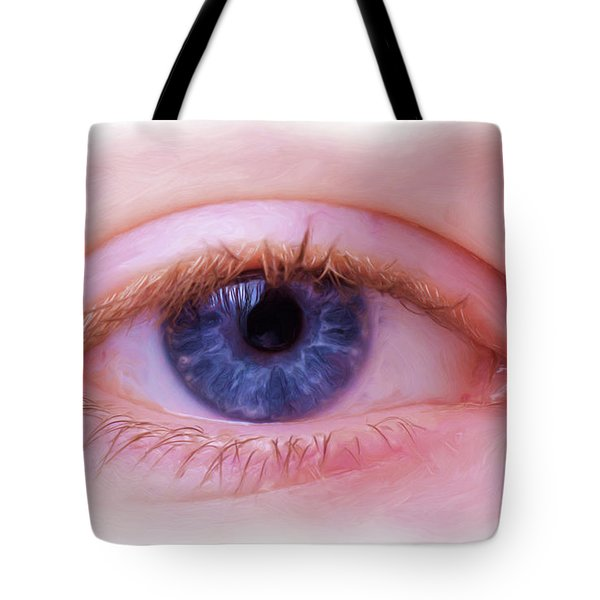 Tote Bag featuring the painting Blue Eyes by Harry Warrick