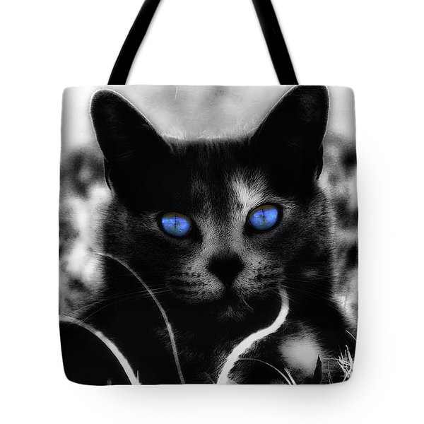 Tote Bag featuring the photograph Blue Eyes by Yvonne Emerson AKA RavenSoul