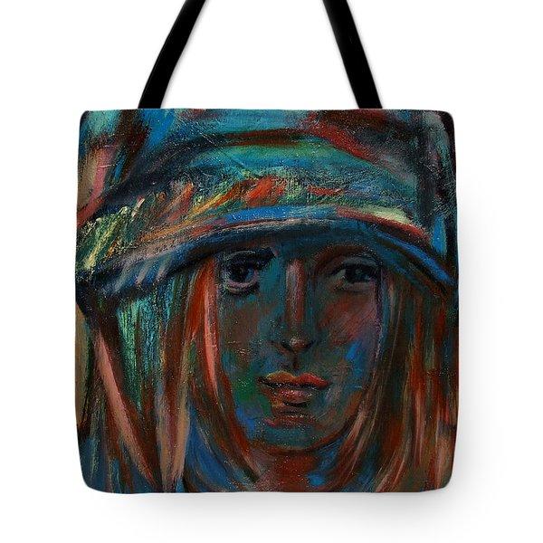 Blue Faced Girl Tote Bag