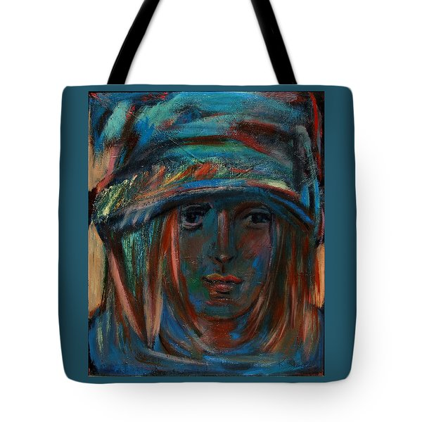Blue Faced Girl Tote Bag