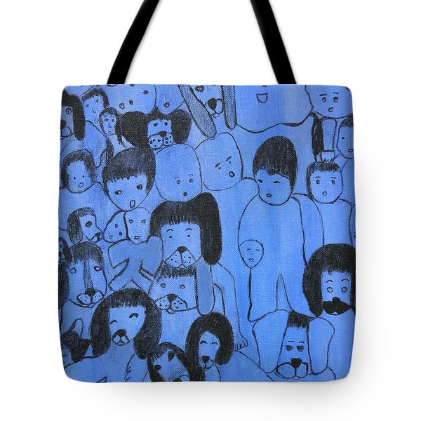 Blue Faces Tote Bag