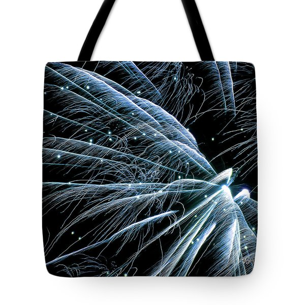 Tote Bag featuring the photograph Blue Fairy Fireworks #0710_3 by Barbara Tristan