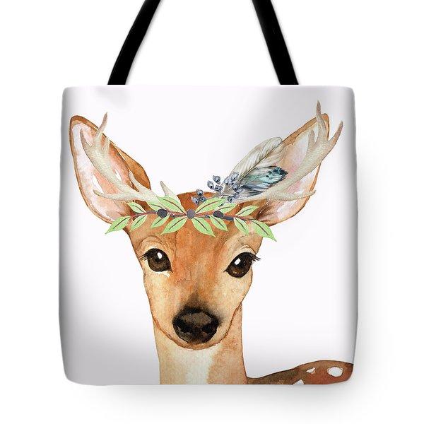 Blue Feather Woodland Boho Deer Tote Bag