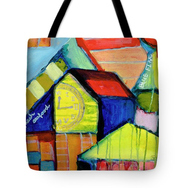 Tote Bag featuring the painting Blue Fin's Fresh Seafood by Susan Stone