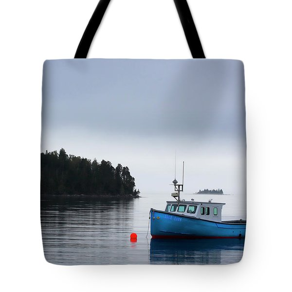 Blue Fishing Boat In Fog Tote Bag