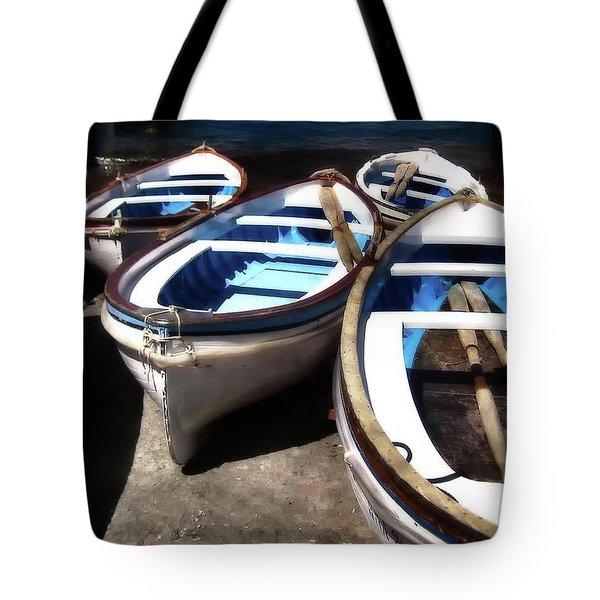 Blue Fishing Boats Tote Bag