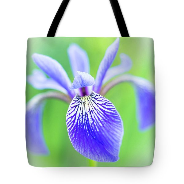 Blue Flag Iris As A Bee Sees It Tote Bag by Jim Hughes