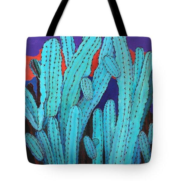 Blue Flame Cactus Acrylic Tote Bag by M Diane Bonaparte