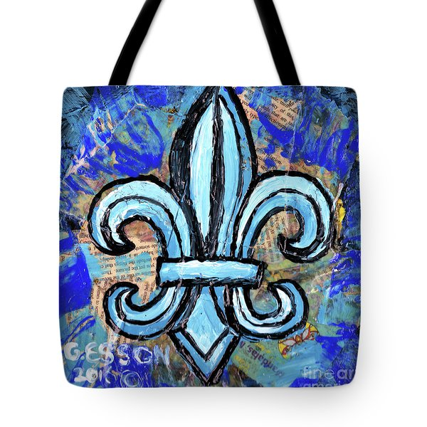 Tote Bag featuring the mixed media Blue Fleur De Lis by Genevieve Esson