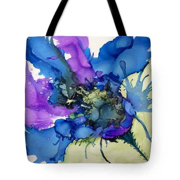 Blue Floral Tote Bag by Pat Purdy