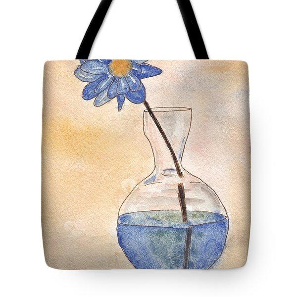 Blue Flower And Glass Vase Sketch Tote Bag