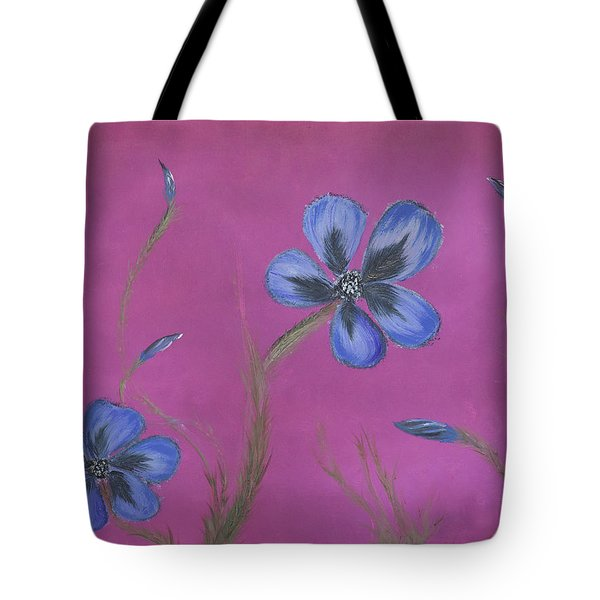 Blue Flower Magenta Background Tote Bag