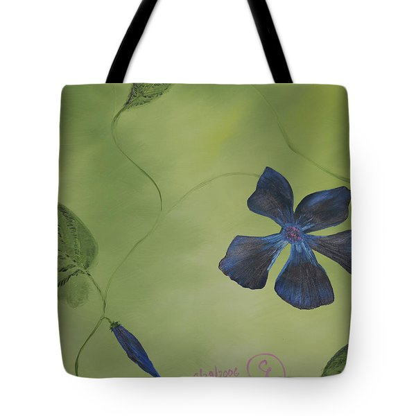 Blue Flower On A Vine Tote Bag