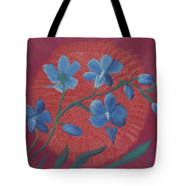 Blue Flower On Magenta Tote Bag