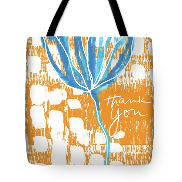 Tote Bag featuring the photograph Blue Flower Thank You- Art By Linda Woods by Linda Woods