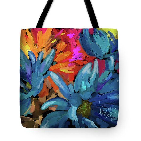 Tote Bag featuring the painting Blue Flowers 2 by DC Langer