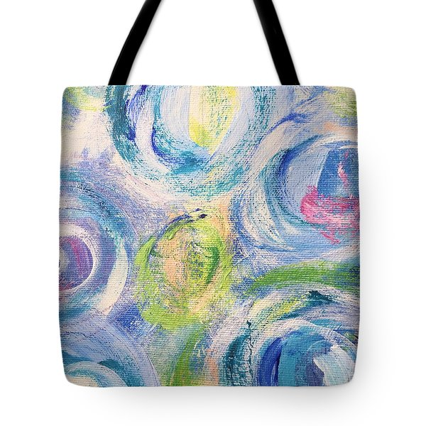 Tote Bag featuring the painting Blue Flowers - Abstract Painting by Cristina Stefan