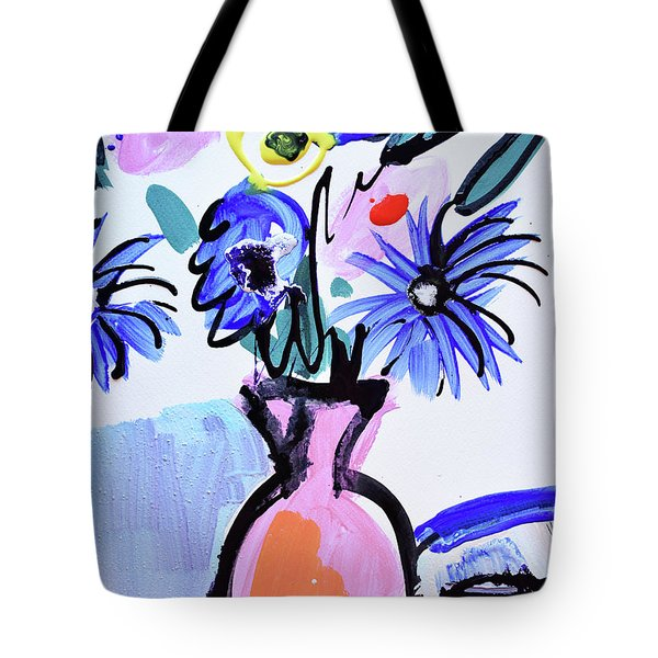 Blue Flowers And Coffee Cup Tote Bag