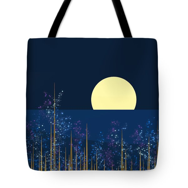 Blue Flowers Bloom At Night Tote Bag