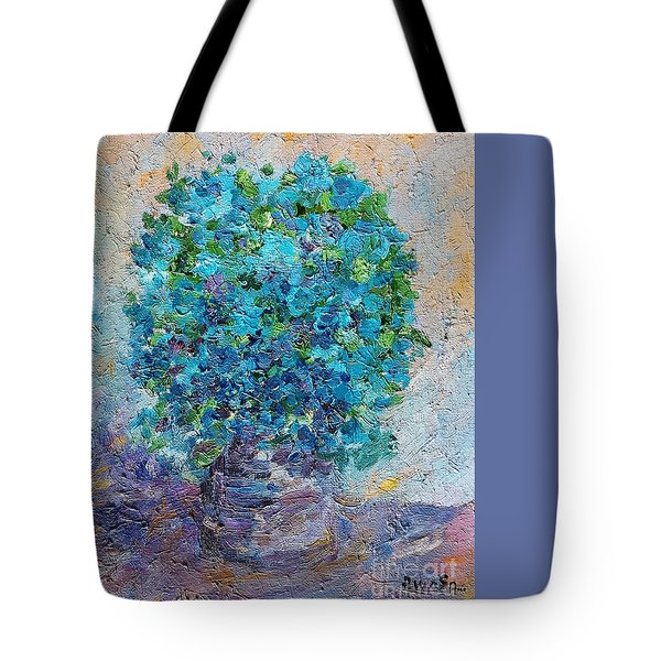 Tote Bag featuring the painting Blue Flowers In A Vase by AmaS Art