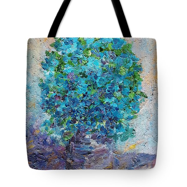 Blue Flowers In A Vase Tote Bag