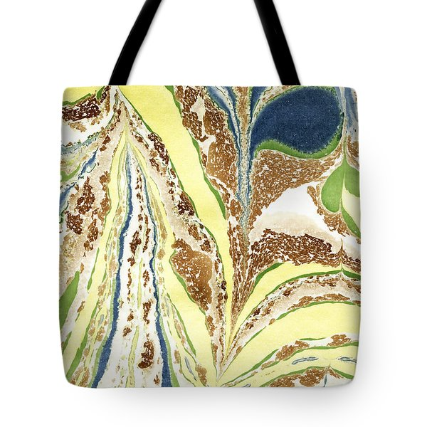 Tote Bag featuring the painting Blue Flowers In Spring by Menega Sabidussi