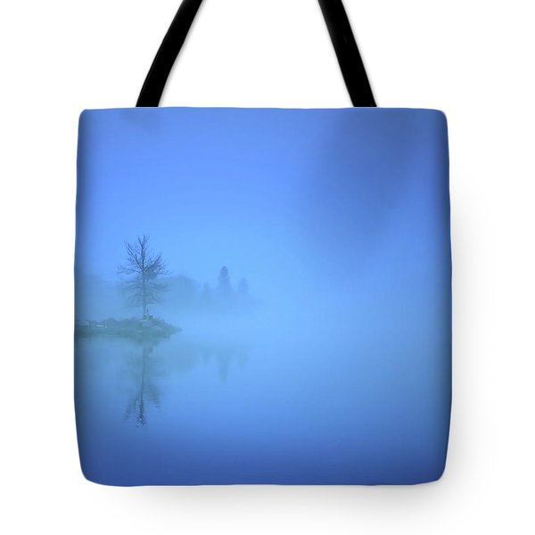 Tote Bag featuring the photograph Blue Fog At Skaha Lake by Tara Turner