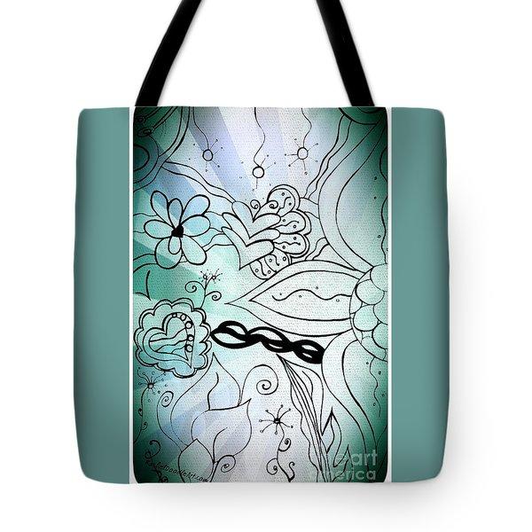 Blue Funky Flower Doodles Tote Bag