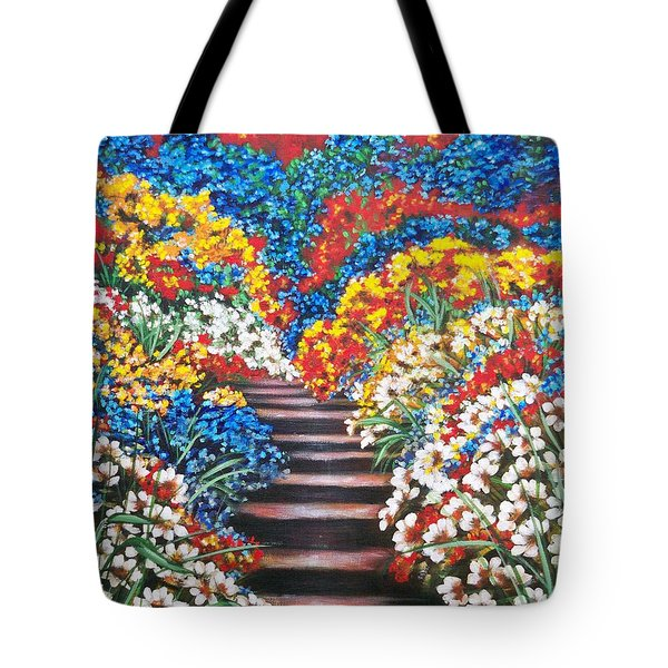 Tote Bag featuring the painting Blue Garden Cascade by Sigrid Tune